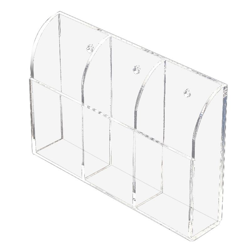 Clear Acrylic <font><b>Remote</b></font> Control Holder Wall Mount Media Organizer Storage Box (Three Compartments) image