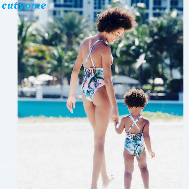 b0c07146416ba Cutyome Mother Daughter Swimsuit Clothes Family Look Matching One-Pieces  Swimwear Outfits Mommy And Me Kids Beach Bathing Suit