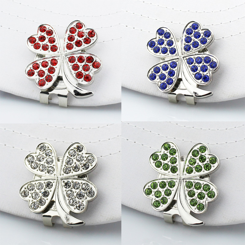 Free Shipping New Beautiful 4 colors Four leaf clover Golf Cap Clip Golf Ball Marker 4pcs/lot