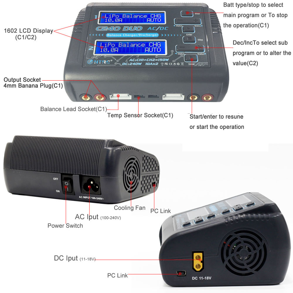 HTRC C240 DUO AC 150W /DC 240W Dual Channel 10A RC Balance Charger discharger for LiPo LiHV LiFe Lilon NiCd NiMh Pb battery-in Parts & Accessories from Toys & Hobbies    3