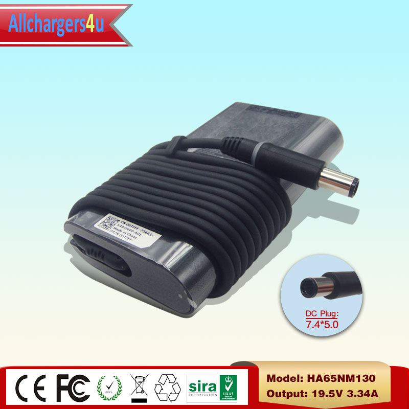 19.5V 3.34A 65W 7.4*5.0mm Original Laptop AC Adapter Charger for Dell Inspiron 3135 3138 3437 7537 HA65NM130 06TFFF 6TFFF 8RFW6