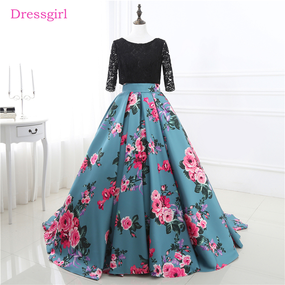 Natural Simple Elegant 2018 Blue Bridesmaid Dresses With: Blue Black 2018 Prom Dresses Ball Gown Scoop Half Sleeves