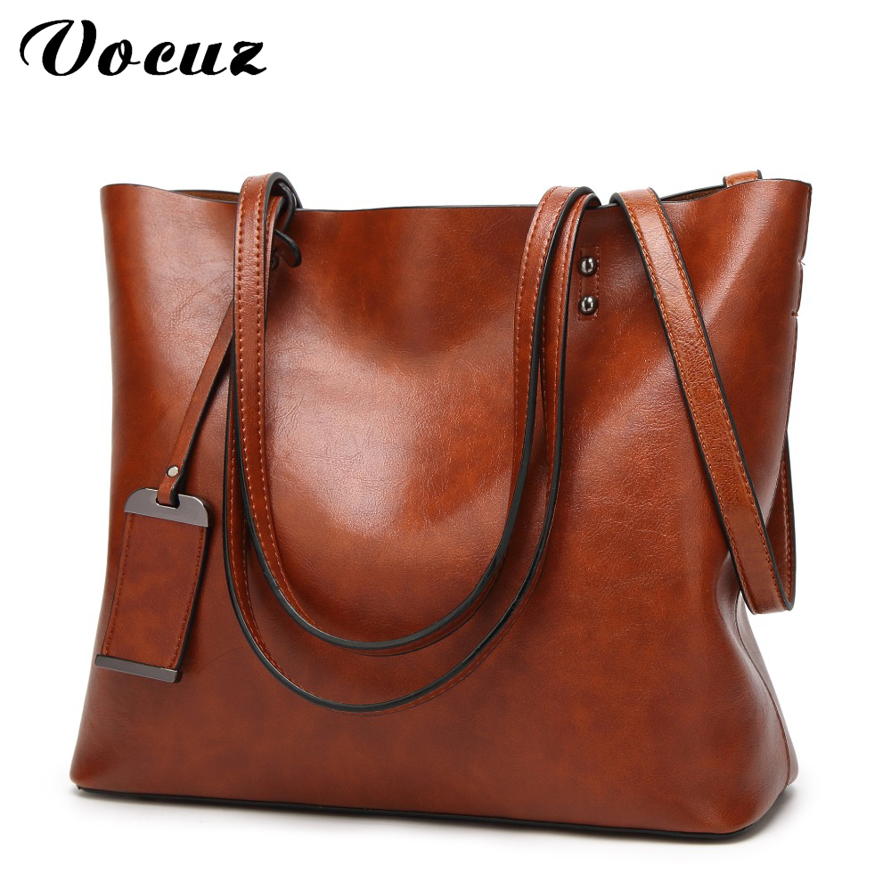 Women Shoulder Bags 2018 Fashion Women Handbags Oil Wax Leather Large Capacity Tote Bag Casual Pu