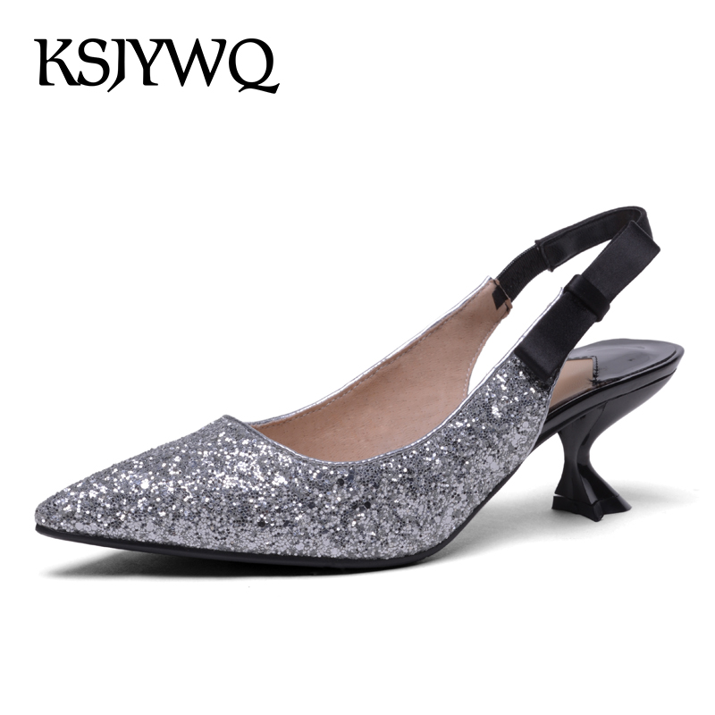 KSJYWQ Silver Women Pumps Summer Style Dress Shoes 6 CM High Heels Sexy Pointed-toe Leather Slingbacks Woman Box Packing V105 женское платье summer dress 2015cute o women dress
