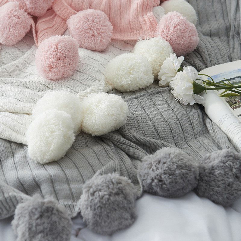 Pink Grey Fluffy Ball Nordic Solid Color Cotton Cable Knitted Blanket Winter Thick Thermal Blanket Sofa Throw Blanket For Sofa