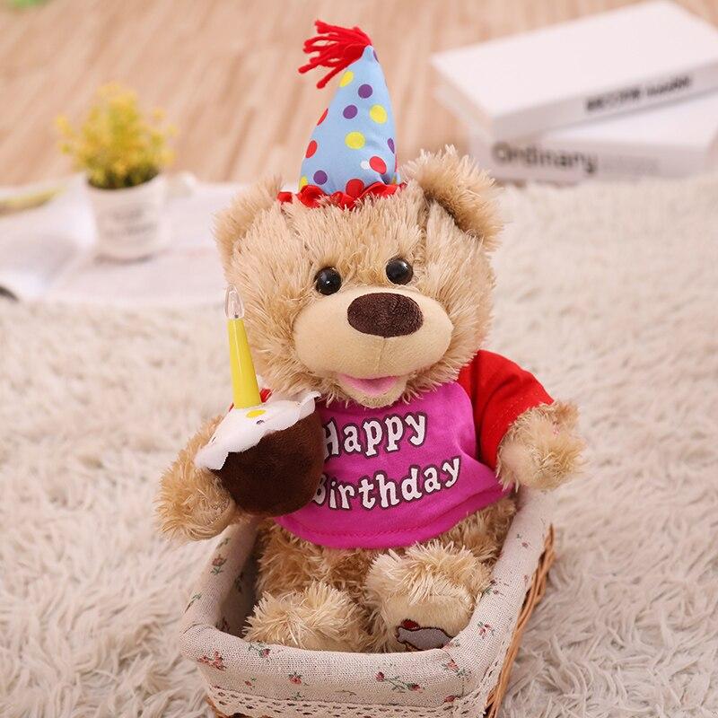 Talking Singing Birthday Cake Bearr Speaking Plush Toys Electronic Stuffed Animals For Children Girls Boys Baby Tiara