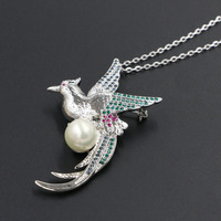 New Phoenix Stellux Rhinestone Pendant Necklace Peacock Bird Pearl Long Necklace Women Crystal Jewelry Christmas Gifts