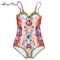 MoaaYina Fashion Designer Shawl Bodysuits Summer Women Spaghetti Strap Romantic Sicily Holiday Beach Print Sexy Bodysuits