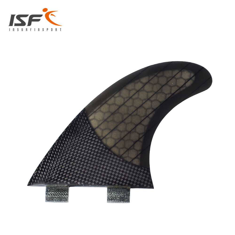 Papan Selancar Thruster Insurfin tri fin Set (3) strip Surf Fin G5 FCS Fiberglass Karbon Hitam