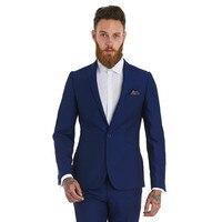 Custom made homme costumes deux pièces tux de Revers Cran Smokings de Marié De Mariage De soirée Slim Fit bleu meilleur homme Costumes (veste + Pantalon)