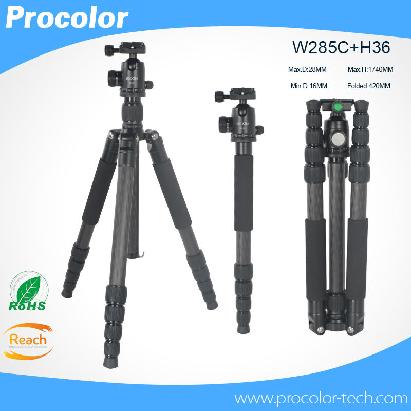 professional Photographic Portable Carbon fiber Travel font b Tripod b font With Ball head height 174cm