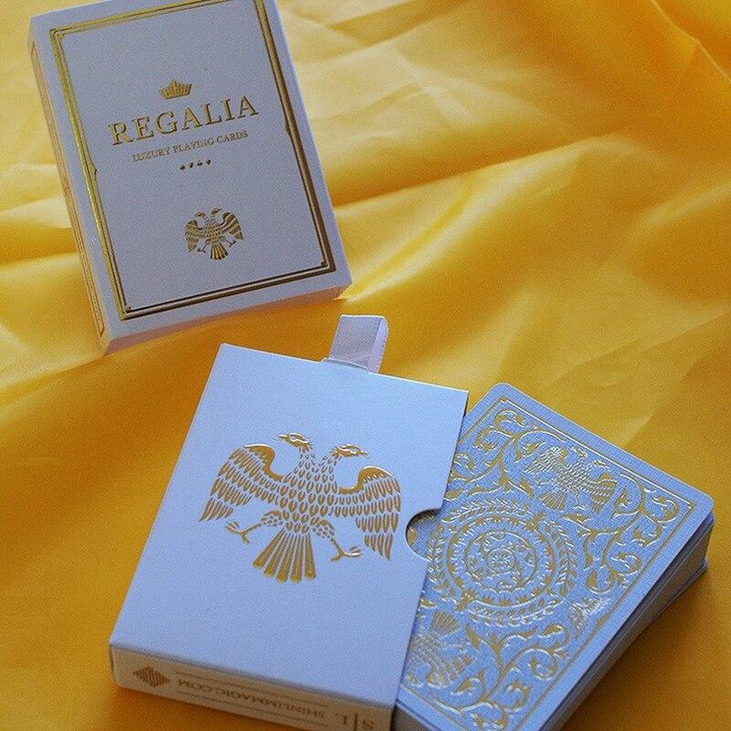 Cartes à jouer de luxe en or blanc Regalia Poker taille Deck Shin Lim Cartamundi nouveaux accessoires magiques