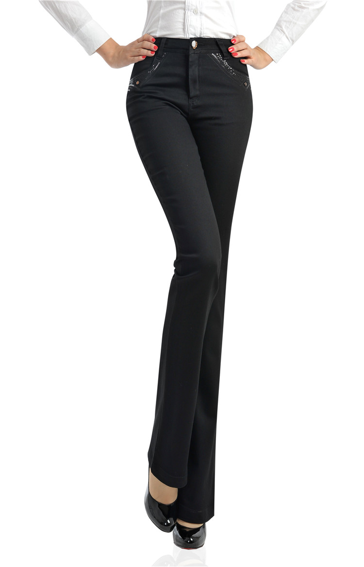 free shipping aurumn spring winter Black elastic plus size casual women pants flare trousers loose high