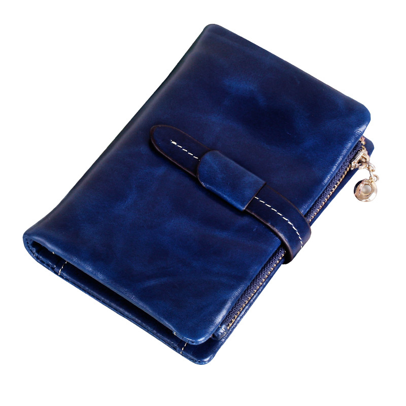 Hot Sale High Quality Women Genuine Leather Wallet With Coin Purse 2017 Fashion Short Design Blue Oil Wax Cowhide Women's Wallet 2017 genuine cowhide leather brand women wallet short design lady small coin purse mini clutch cartera high quality