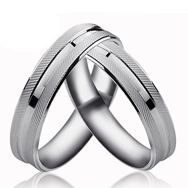 real pure platinum romantic couple rings for both lovers