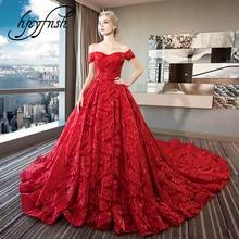 d5172d891 Rojo De encaje bordado De 2019 vestidos De novia con tren cariño elegante  Plus tamaño Vestido