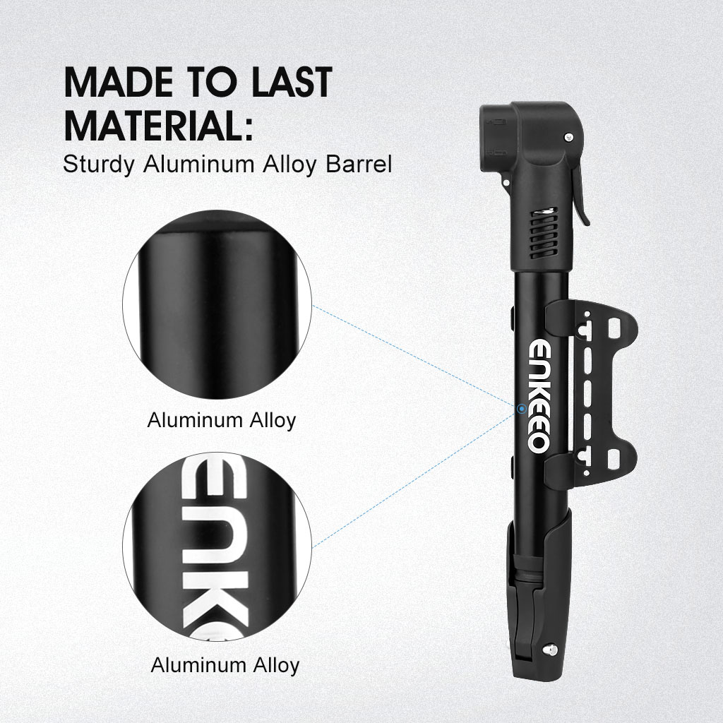Enkeeo Ultra Lightweight Portable Mini Bicycle Pump Safe Ride Assistance