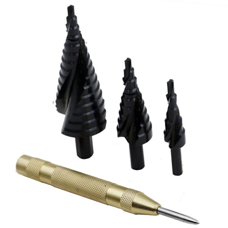 3pcs Nitriding Spiral Flutes Step Drill Bit HSS 4-32 4-20 4-12 & 5 Inch Automatic Center Pin Punch Spring Drilling Tools 3 175 12 0 5 40l one flute spiral taper cutter cnc engraving tools one flute spiral bit taper bits