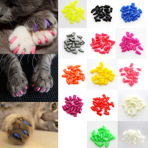 Hot New 20pcs Colorful Soft Pet Dog Cat Kitten Paw Claw Control Nail Caps Cover