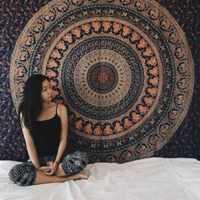Indian Mandala Tapestry Hippie Wall Coverings Bohemian Beach Throwing Carpet Ceiling Tent Travel Mattress Psychedelic Wall Taps