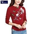 De manga larga camiseta de las señoras de otoño primavera 2017 elegante más nueva del diseño flare bordado de la cintura delgada de gran tamaño casual tops