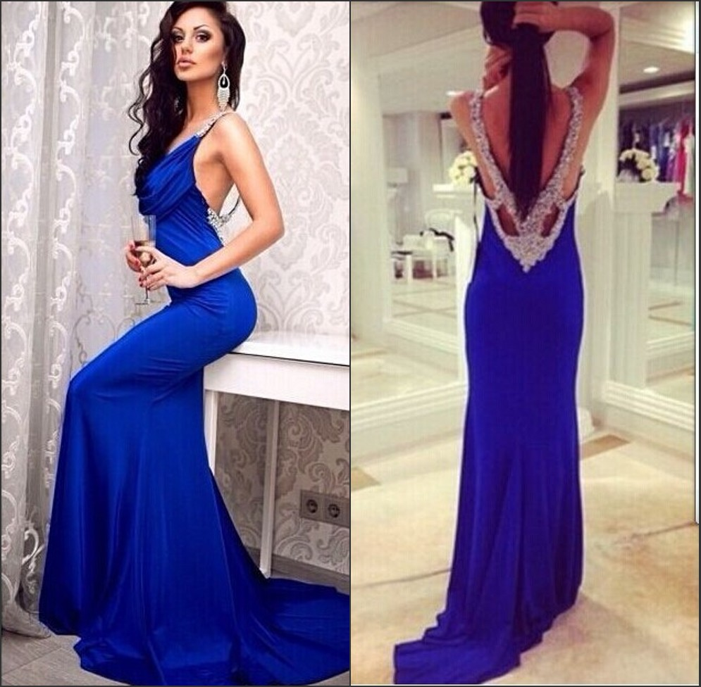Popular Blue Fitted Backless Prom Dresses-Buy Cheap Blue Fitted ...