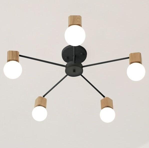 ФОТО Northern Europe Wood Living Room Ceiling Light Simple Retro Bedroom Creative Fashion Wood Restaurant Ceiling Lamp Free Shipping