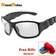 HD Photochromic Polarized Sunglasses Men Women Chameleon Discoloration Sun Glasses Square Driving Gafas Ciclismo with box