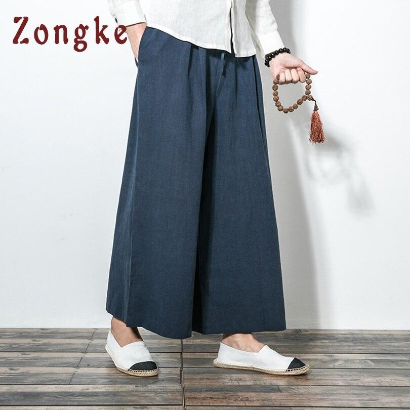 Zongke Style chinois lâche pantalons à jambes larges hommes survêtement japonais Streetwear pantalon en lin hommes pantalons XXL survêtement s hommes pantalons 2019 nouveau