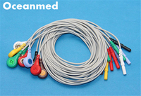 Generic Universal Din Style Safety ECG Holter Lead Wires Cable, 10 Leadwires Snap Set