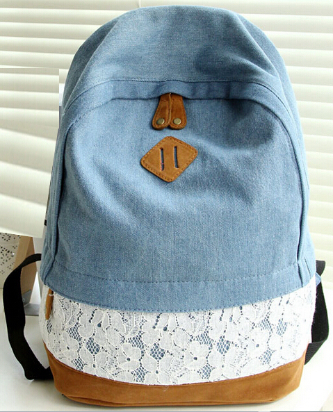 2015 Fashion Fresh Lace Denim Women's Canvas Backpack School bag Girl Teenagers Casual Travel bags Schoolbag mochila backpacks