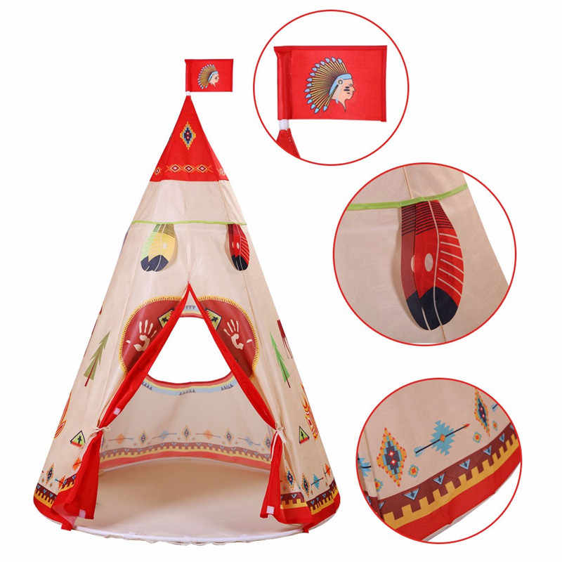 online retailer e2fde 7024d 160 x 105cm Children Indian Toy Teepee Safety Tent Portable Play House Kids  Indoor Game Room Outdoor