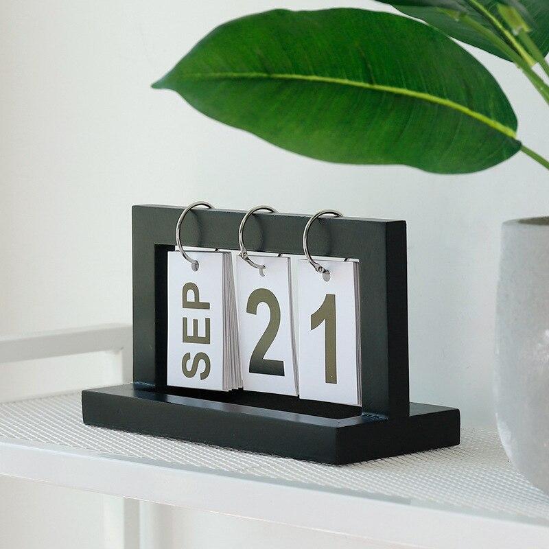 Table Standing Wooden Calendar, Page Up Desk Calendar, Home Office Decoration, DIY Calendar, Iron Ring, Date Month Day Calendar