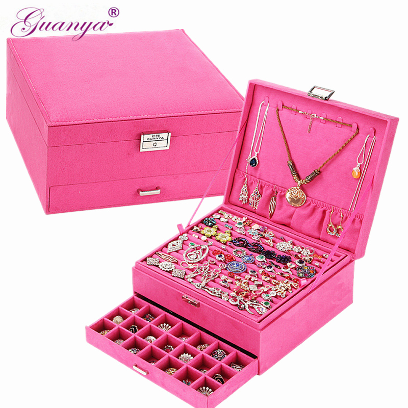 Guanya Big Size 26 26 12 5cm Flannelette Jewelry Boxes Cosmetic Earrings Ring Accessories Storage Box