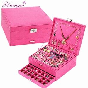 Image 1 - Guanya גדול גודל 26*26*12.5cm פלנלית תכשיטי תיבות קוסמטי עגילי טבעת אביזרי אחסון תיבת כיכר אריזת מתנה עבור נשים