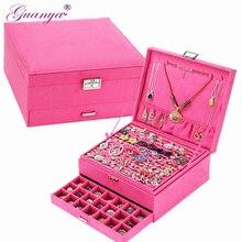 Guanya grande taille 26*26*12.5cm flanelle boîtes à bijoux boucles doreilles cosmétiques anneau accessoires boîte de rangement carré boîte cadeau pour les femmes