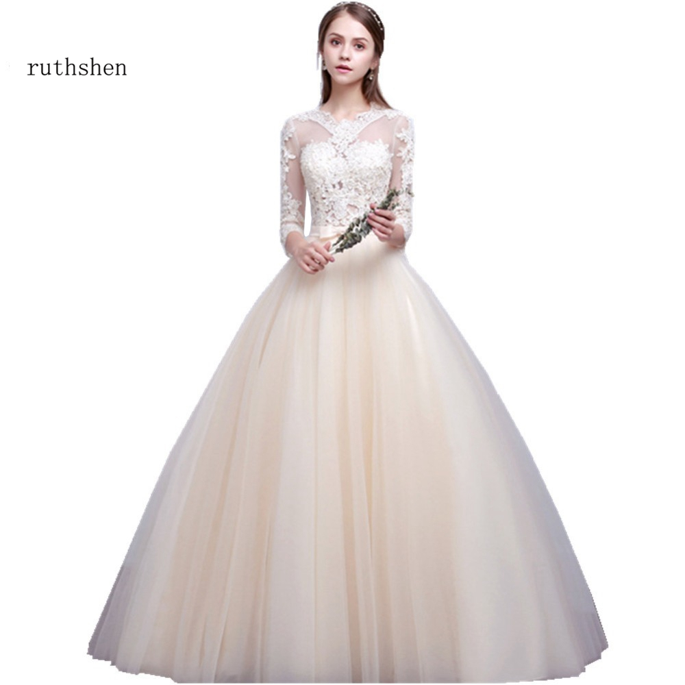 ruthshen vestido de noiva ball gown wedding dresses 34 sleeves wedding gowns lace appliques