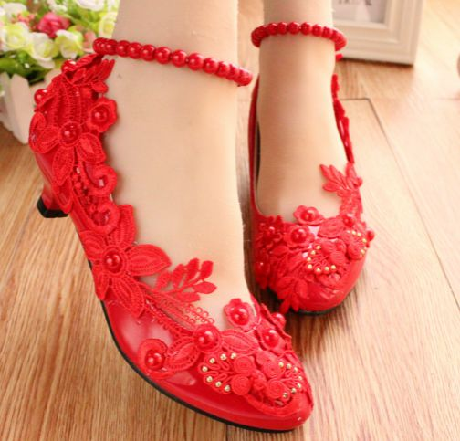 ФОТО 3CM low small heel red lace party shoes for woman luxury 100% delicate handmade wedding party ladies shoes TG462 red sales
