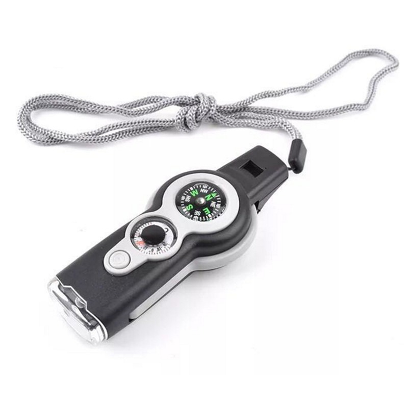 7 In1 Outdoor Camping Hiking Emergency Whistle Compass Thermometer For Referee Sport Rugby Party Training School Soccer Football Basketball Cheerleaders Cheer