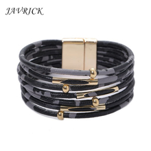 Leopard Wire Leather Ladies Bracelet Memory Multilayer Wrap Wide Women Jewelry