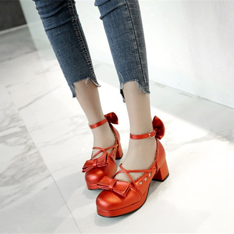 Big Size 30-48 Women Pumps Japanese Princess Lolita Shoes Sweet Bow Cross Straps High Heels Mary Janes COSPLAY Female Shoes Gold (11)
