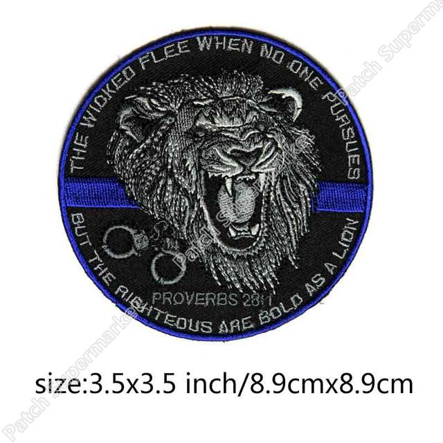 The Righteous Are Bold As a Lion Slogan BIKER VEST PATCH Iron On  Embroidered Motorcycle Badge Proverbs 28 Living Bible TLB