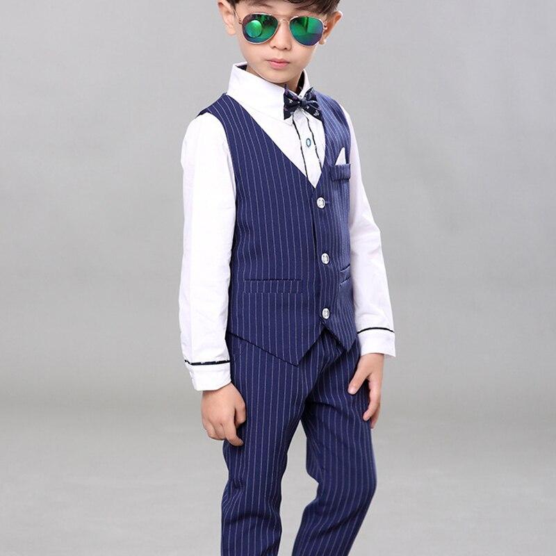 Baby Boys Vest Suits Kids Striped Wedding Suits Children Summer Tuxedo Suit