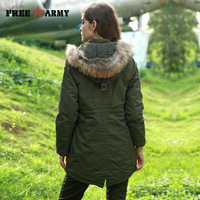 FREEARMY Parkas Autumn Winter Jackets Coat Women Thick Warm Fur Collar Jacket Female Military Green Hooded Parkas Winter Woman