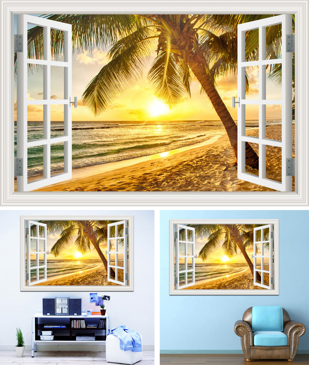 ᗚWall Stickers Home Decor Summer Beach Coconut Tree Picture ...