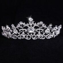 Fashion silver crystal Bridal Crown luxury alloy Rhinestones hair jewelry accessories wedding for women tiara Crown E160305-06