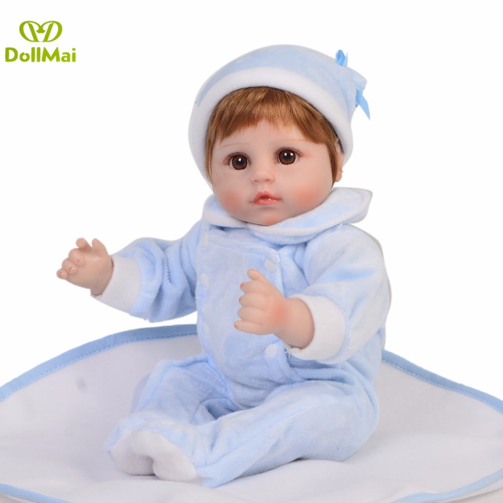 brown eyes Reborn Baby 42cm Silicone Smile Girl/boy blue clothes Bebe gift Educational Kid fashion Brown Hair wig play DIY toybrown eyes Reborn Baby 42cm Silicone Smile Girl/boy blue clothes Bebe gift Educational Kid fashion Brown Hair wig play DIY toy