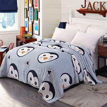 Super Soft Warm Coral Fleece Blanket Cute Penguin Pattern Printed Plaid Sofa Cover Winter Velvet Plush Blankets On The Bed(China)