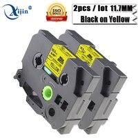 XiJin 2 stücke kompatibel 11,7mm x 1,5 mt schwarz auf gelb Hochwertige Wärme Shirnk band hse-631 für brother p touch drucker