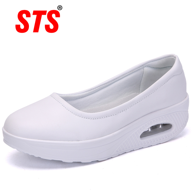STS Brand Spring Mother Casual Women Thick Flats Shoes Casual Comfort Low Heels Flat Loafers Nurse Shoes Slip Resistant Platform